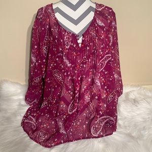 St Johns Bay Size 3X Boho Sheer Top Length 28""